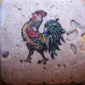 hand colored rooster tile