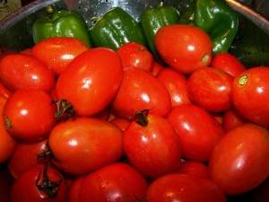 tomatoes and peppers for salsa