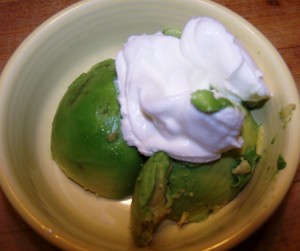 avocado and sour cream topping