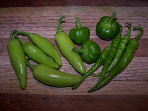 Jalapeno, cherry and chile peppers