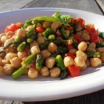 Fresh from the garden asparagus teams with last season's canned chick peas for this easy recipe from Gardening Jones.